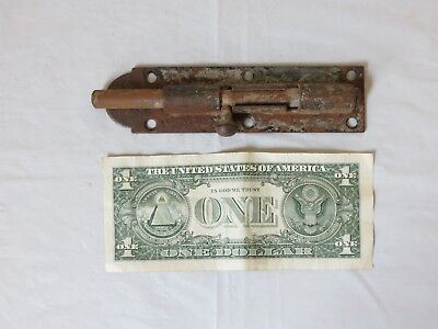 "Antique large steel Cast Iron 6"" door gate Slide Latch barrel dead bolt lock"