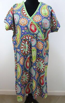 Push Labor and Delivery Maternity Gown Size M Bright Multi Color Floral Cotton