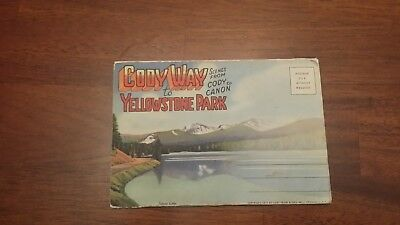 Vintage 1937 Foldout Postcard Cody Way to Yellowstone Park Wyoming Post Card USA