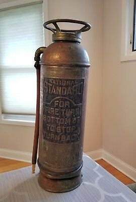 Antique National Standard Fire Dept Copper Fire Extinguisher 2.5 Gallon Vintage