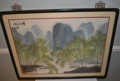Vintage Original Chinese Water Color Hand Painting Landscape by Jixian Zhang