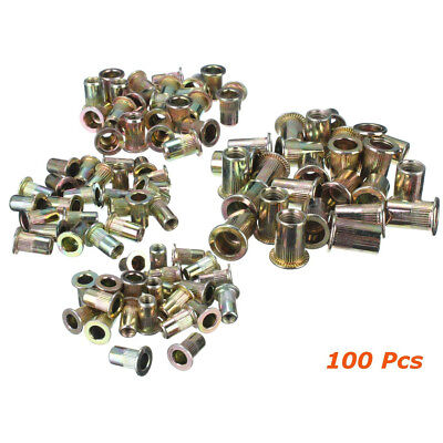 100pcs Rivet Nut Flat Head Insert Zinc Plated Carbon Steel Nutsert Metric Rivnut