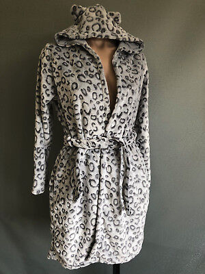 BNWOT Girls Size 7 to 8 Soft Fluffy Grey Animal Print Dressing Gown With Hood