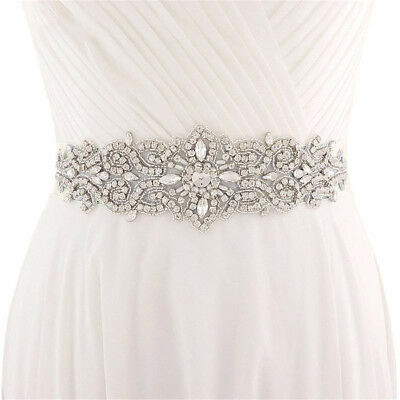 Rhinestone Crystal Wedding Bridal Belt Sash Waist Belt With Satin Ribbon