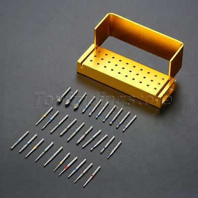 30pcs Burs Dental Drill Disinfection Block Diamond High Speed Holder Handpieces
