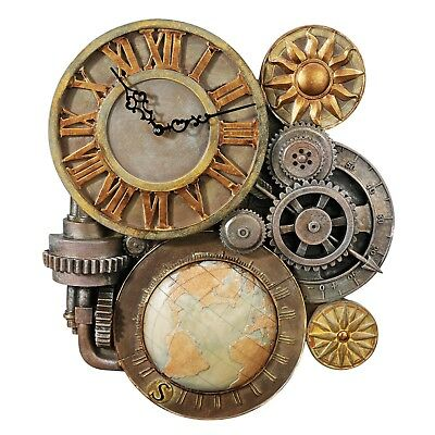 "17"" Steampunk Wall Clock Sculpture Antique Style Decorative Analog Gear Clock"