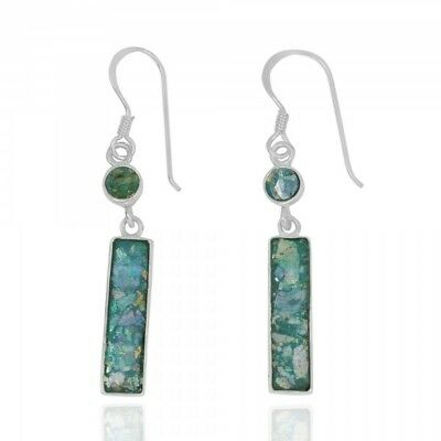 Handmade 925 Sterling Silver Rectangular Roman Glass with1 Round Shap Earrings