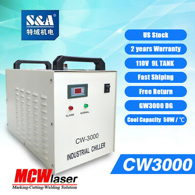 Genuine S&A CW-3000DG Water Chiller 110V Cool 50W 60W 80W CO2 Laser Tube CE RoSH