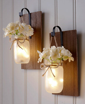 Country Rustic Fairy Lights  Hydrangea Floral Hanging Mason Jar Wall Sconce