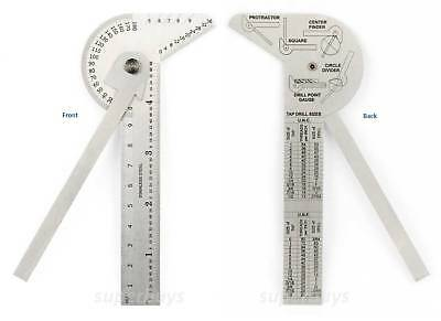 6 in1 Ruler Gauge Protractor Goniometer Circle Center Finder Divider Drill Point