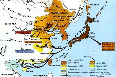 1941 WW2 JAPAN JAPANESE OCCUPATION MAP ASIA PACIFIC WAR USA ...