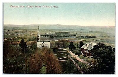 Early 1900s Eastward from College Tower, Amherst, MA Postcard