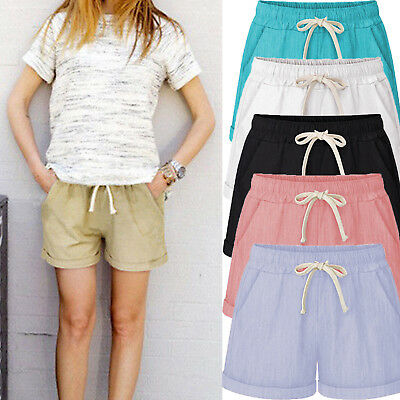 Womens Short Pants Cotton Elastic High Waist Summer Beach Baggy Casual Trousers