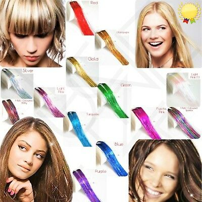 "UK 100 x Strands  Holographic & LED Hair Ext.Tinsel 48"" Long   24 Hours Delivery"