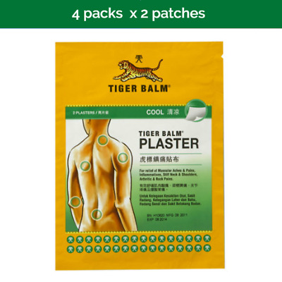 4x 2s TIGER BALM cool plaster stiff neck, muscle, shoulder, back pain
