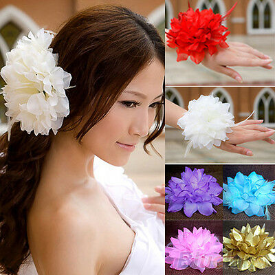 EE_ Sweet Girl Bridal Wedding Party Large Flower Elastic Pin Hair Wrist Corsage