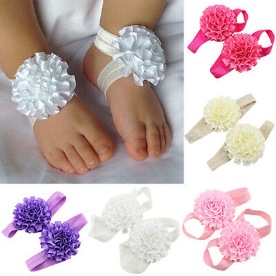 EE_ 2x Baby Infant Toddler Girl Ribbon Flowers Barefoot Sandals Sock Toe Shoes G