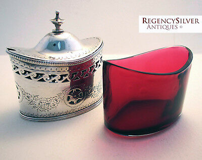 Large George III Georgian 1785 Solid Sterling Silver Mustard Pot Robert Hennell