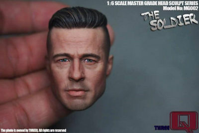 1/6 THREEQ MG002 Model Brad Pitt Man Head Fury Tank Crews For 12'' Body Figure