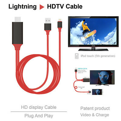8 Pin Lightning to HDMI TV AV 2M Cable Adapter for iPhone 7 7+ 6 6s 5 5s iPad UK