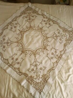"""Lovely Vintage Madeira Tablecloth Hand Embroidered 40"""" x 40"""" VGC"""
