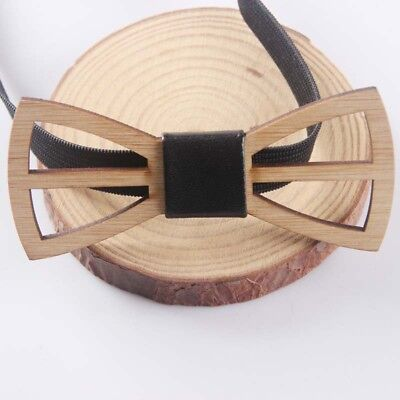 Wooden Bow Tie Accessory Men Bamboo Wood Bowtie Neck Wear Party Wedding