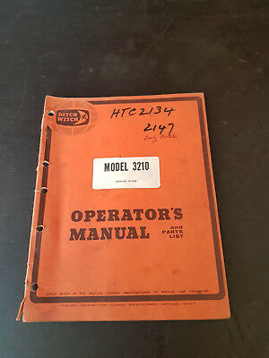 Ditch Witch 3210 Operators Manual and Parts List 1980