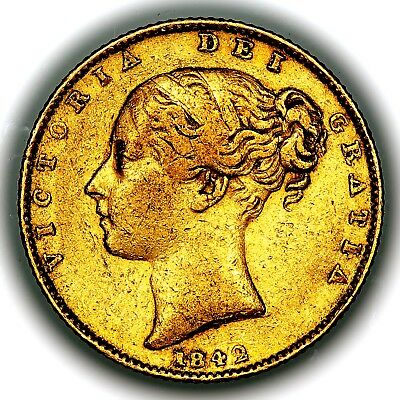1842 Queen Victoria Great Britain London Mint Gold Sovereign Coin