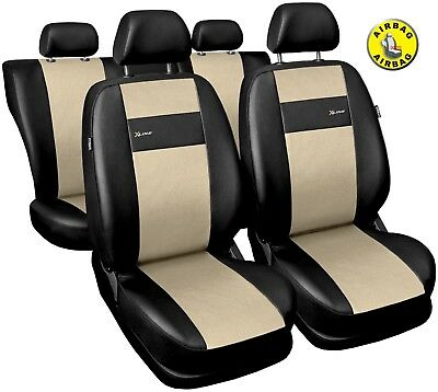 Car seat covers fit Volvo XC90 black/beige  leatherette full set