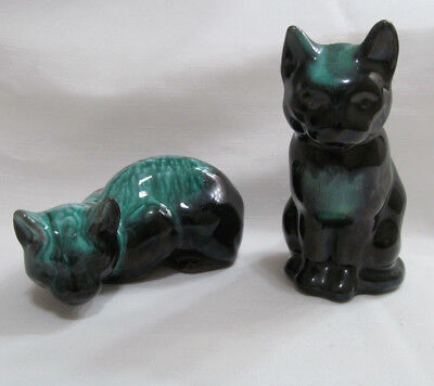Cat Figurine Clay Green BMP Vintage 2 pcs