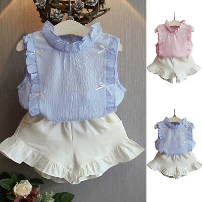 Ee_ Toddler Kids Baby Girls Summer Outfit Clothes Shirt Top + Short Pants Set St