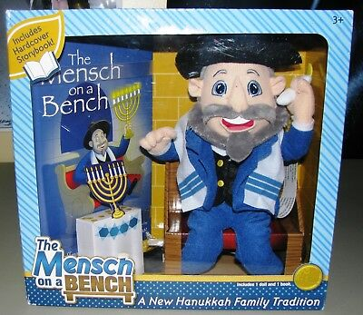 Jewish Rabbi Mensch on a Bench Plush Hanukkah Decor Hardcover Book Figure