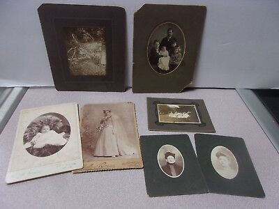 Vintage Lot Of (7) Old Antique Portrait Photographs / Pictures Family Baby