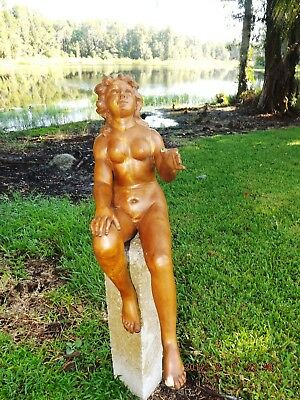 "Large 30"" Antique Carved Nude Lady Sculpture Wooden Victorian Statue Estate Lot"