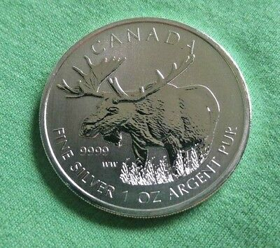 WOW ! 2012 Canada 1 oz Silver Wildlife Series Moose Canadian mint BU - from tube