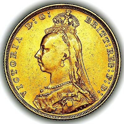 1889 Queen Victoria Great Britain London Mint Gold Sovereign Coin