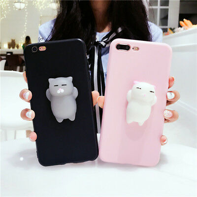 EE_ 3D Cute Relief Soft Squishy Cat Phone Case Cover for iPhone 6S 7 Plus X Grea