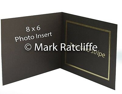 50 Quality Brown Textured  Twin gold Stripe Slip in Folder Photo Size 8 x 8 inch