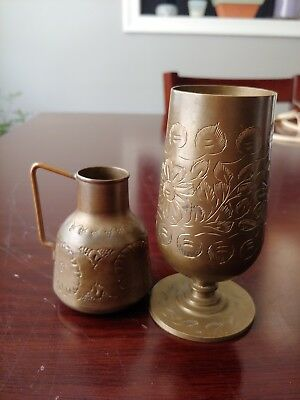 Vintage Etched Brass Cups Mugs Floral India Lot Of 2