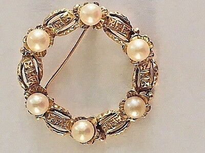 WREATH BROOCH -EUROPEAN WITH 6 PEARLS IN 18K Yellow GOLD