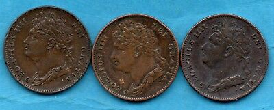1822, 1823 & 1825 KING GEORGE IV COPPER FARTHING COINS. 3 x 1/4d.