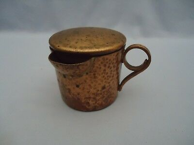 Rare Unusual Primitive Hammered Copper Sipping Cup Mug Brass Antique with LID