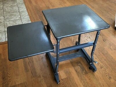 Vintage LUXCO Typewriter Table Desk Metal Grey