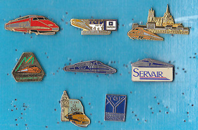 LOT DE 8 PIN'S TRAIN RAILWAY TGV SNCF DIVERS ++++++++++++++r30++++++++++++++++++