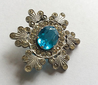 Rare!  Russian Very Beautiful antique silver 875 brooch with big natural Topaz