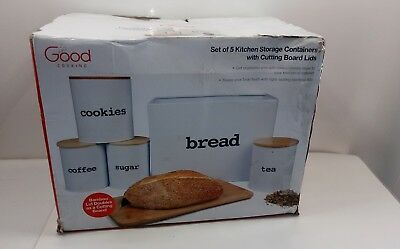 Bread Box and 5 Piece Kitchen Canister Set w Cutting Board Lids