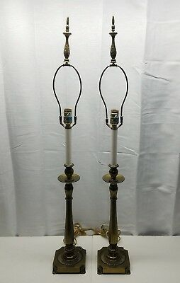 Pair of Vintage Rembrandt Candlestick Brass Table Lamps Light Hollywood Regency