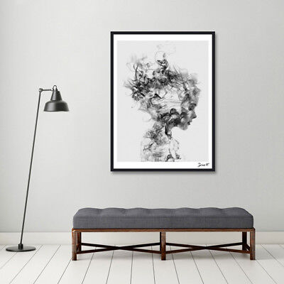 EE_ Modern Nordic Decor Black White Girl Poster Painting Wall Art Pictures Exoti