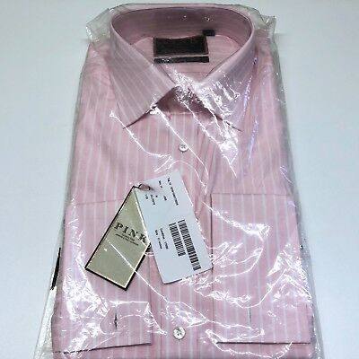 THOMAS PINK Shirt The IMPERIAL 220s Pink White Striped Double Cuff CLASSIC Fit