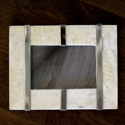 """NWT $125 WILLIAMS SONOMA 'Natural Stone & Polished Nickel' Picture Frame (4""""x6"""")"""